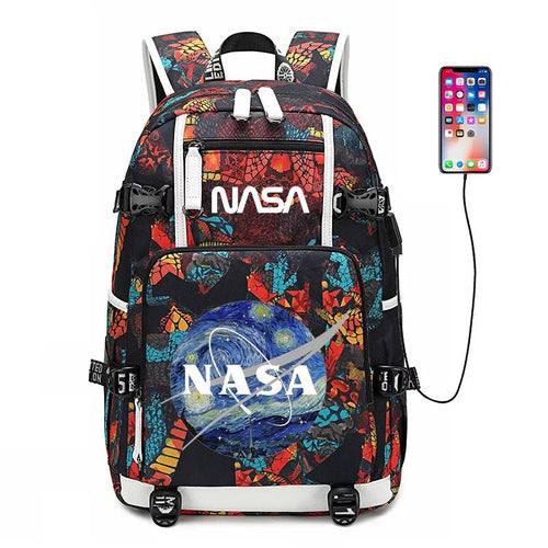 NASA Space #3 USB Charging Backpack School NoteBook Laptop Travel Bags