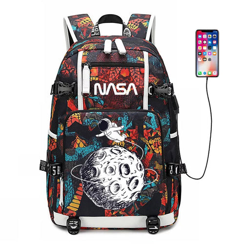 NASA Space #4 USB Charging Backpack School NoteBook Laptop Travel Bags