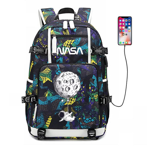 NASA Space #5 USB Charging Backpack School NoteBook Laptop Travel Bags
