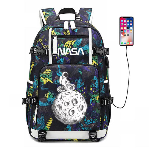 NASA Space #6 USB Charging Backpack School NoteBook Laptop Travel Bags