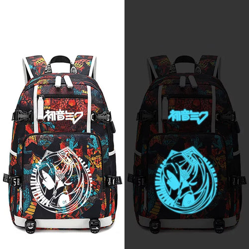 Hatsune Miku #1 USB Charging Backpack School NoteBook Laptop Travel Bags