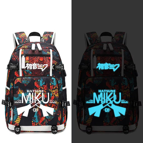 Hatsune Miku #3 USB Charging Backpack School NoteBook Laptop Travel Bags
