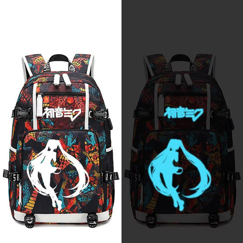 Hatsune Miku #4 USB Charging Backpack School NoteBook Laptop Travel Bags