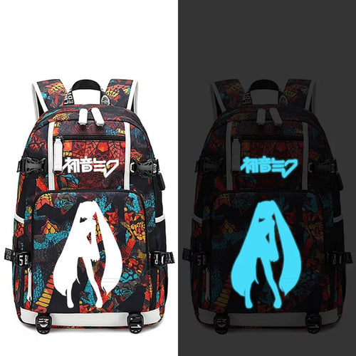 Hatsune Miku #5 USB Charging Backpack School NoteBook Laptop Travel Bags