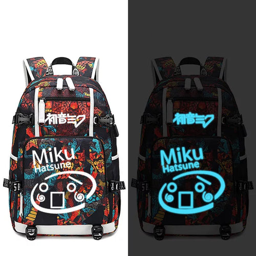 Hatsune Miku #6 USB Charging Backpack School NoteBook Laptop Travel Bags