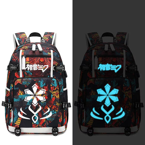 Hatsune Miku #7 USB Charging Backpack School NoteBook Laptop Travel Bags