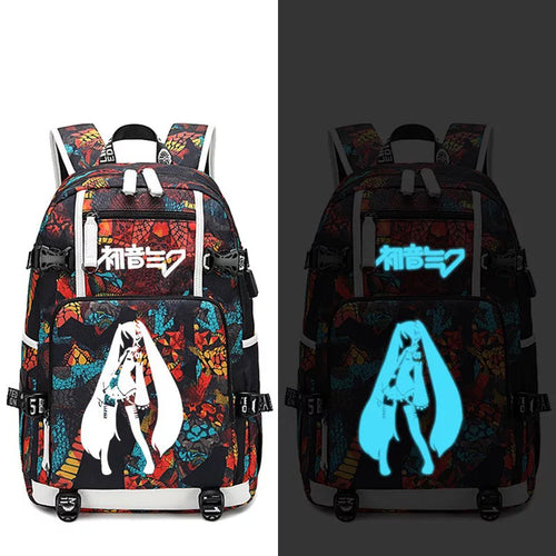 Hatsune Miku #8 USB Charging Backpack School NoteBook Laptop Travel Bags
