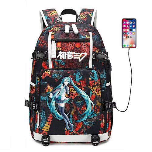 Hatsune Miku #9 USB Charging Backpack School NoteBook Laptop Travel Bags