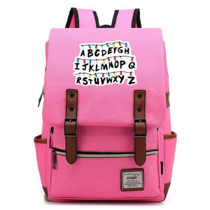 Stranger Things Alphabet Canvas Travel Backpack School Bag