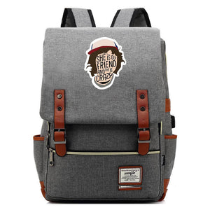 Stranger Things Dustin Hat Canvas Travel Backpack School Bag