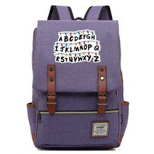 Load image into Gallery viewer, Stranger Things Alphabet Canvas Travel Backpack School Bag