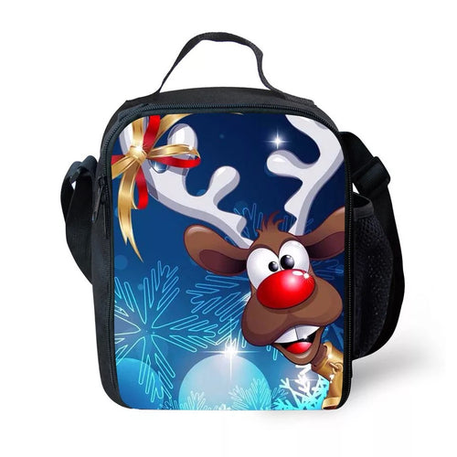 Christmas Santa Claus Elk #1 Lunch Box Bag Lunch Tote For Kids