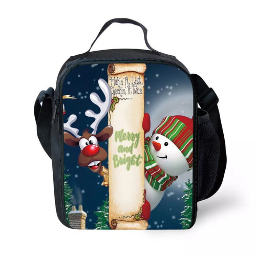 Christmas Santa Claus Elk #2 Lunch Box Bag Lunch Tote For Kids