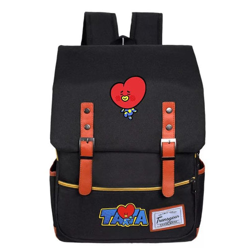 BTS BT21 TATA COOKY Canvas School Bag Backpack USB Charger