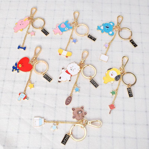 Kpop BTS BT21 Cartoon Keychain Bag Pendant Keyring TATA COOKY MANG