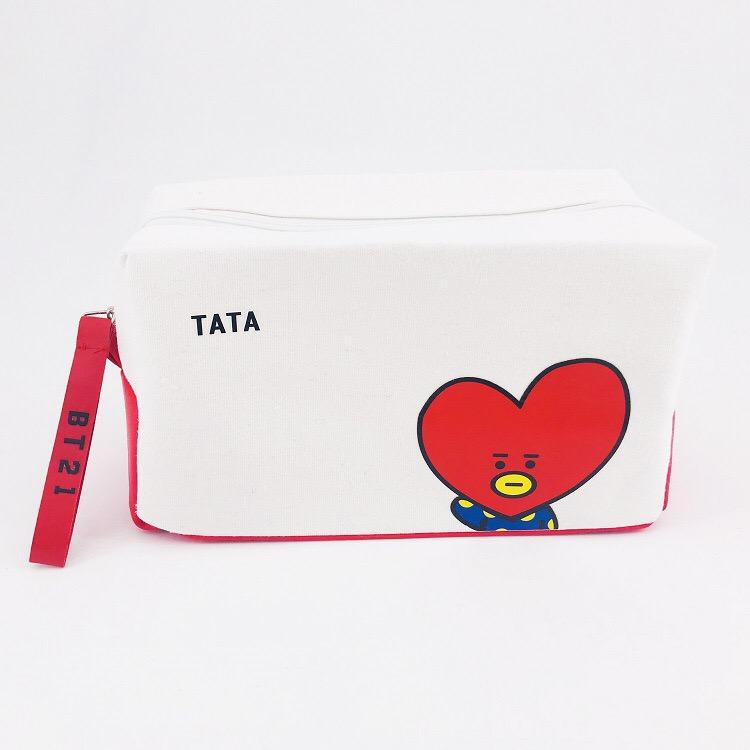 BTS BT21 TATA COOKY Canvas Pouch Storage Bag Cosmetic Bag