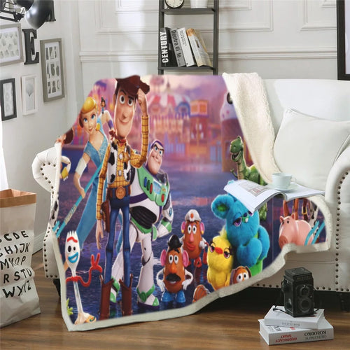 Toy Story Buzz Lightyear Woody Forky #6 Blanket Super Soft Cozy Sherpa Fleece Throw Blanket for Men Boys