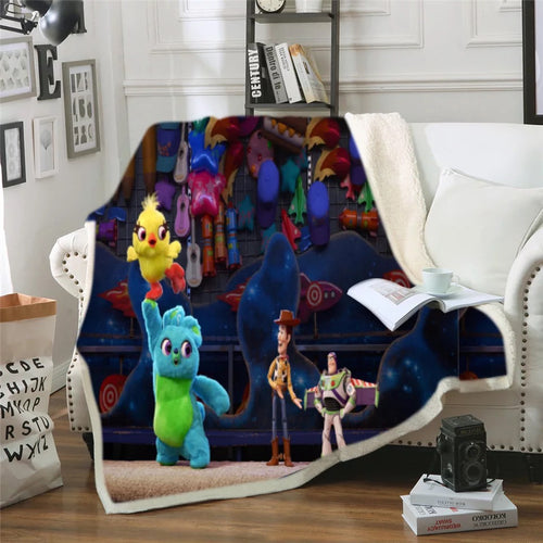Toy Story Buzz Lightyear Woody Forky #7 Blanket Super Soft Cozy Sherpa Fleece Throw Blanket for Men Boys