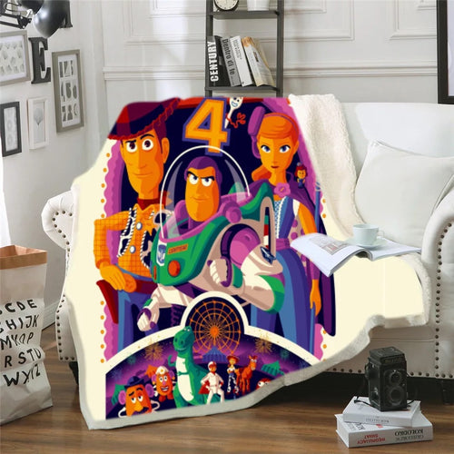 Toy Story Buzz Lightyear Woody Forky #9 Blanket Super Soft Cozy Sherpa Fleece Throw Blanket for Men Boys