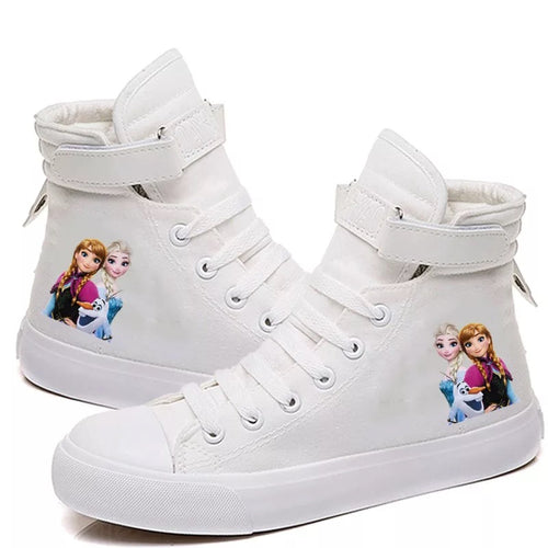 2019 Frozen Anna Elsa Cosplay Shoes High Top Canvas Sneakers