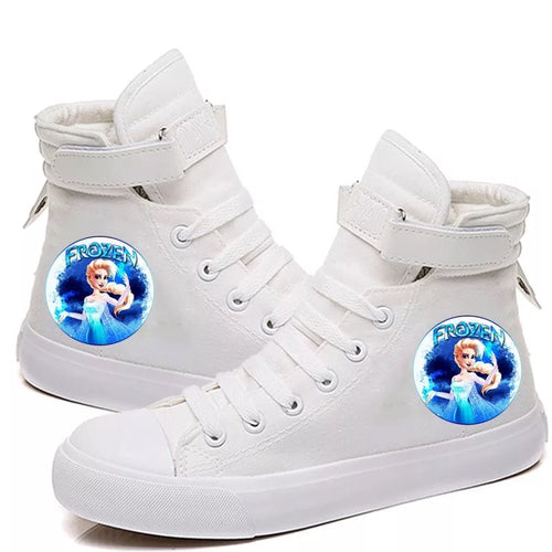 2019 Frozen Anna Elsa Princess #1 Cosplay Shoes High Top Canvas Sneakers