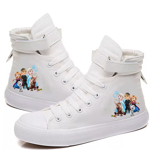 2019 Frozen Anna Elsa Princess #2 Cosplay Shoes High Top Canvas Sneakers