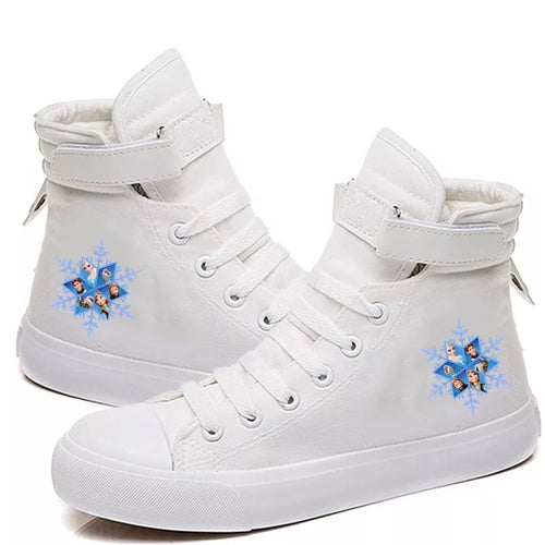 2019 Frozen Anna Elsa Princess #3 Cosplay Shoes High Top Canvas Sneakers