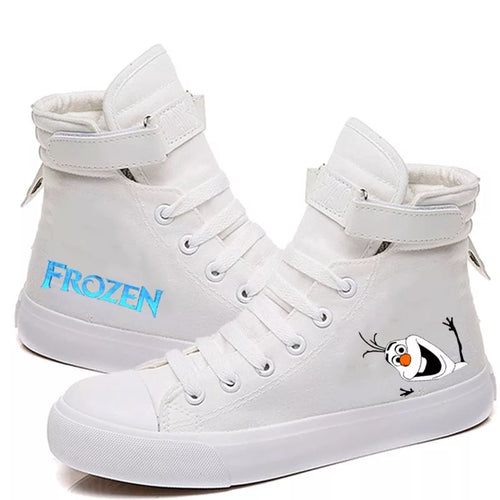 2019 Frozen Anna Elsa Princess #4 Cosplay Shoes High Top Canvas Sneakers