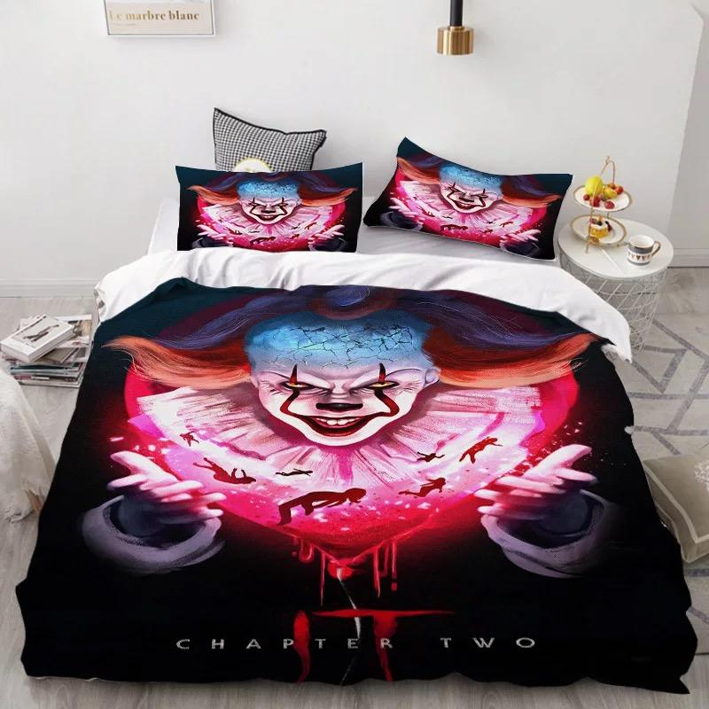2019 Stephen King IT Chapter Two 2 Pennywise Scary Clown #14 Duvet Cover Quilt Cover Pillowcase Bedding Set Bed Linen
