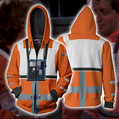 Star Wars X-Wing Rebel Fighter Pilot Sweatshirt Sweater Jacket Zipper Halloween Cosplay Costume
