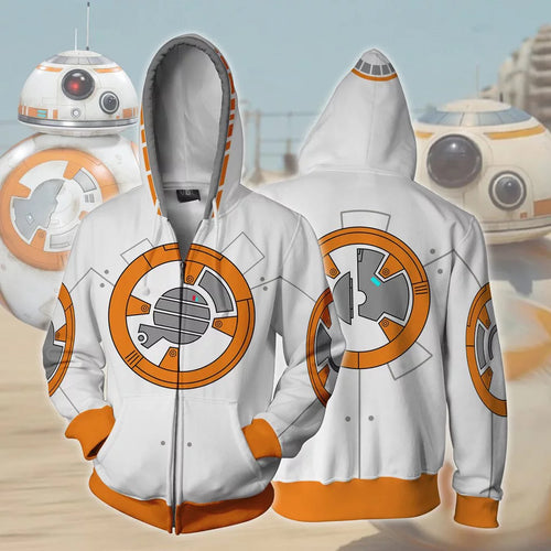 Star Wars The Force Awakens BB-8 Sweatshirt Sweater Jacket Zipper Halloween Cosplay Costume