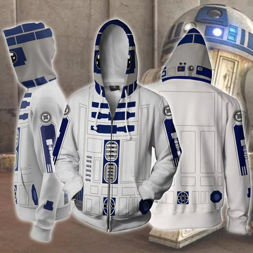 Star Wars: The Last Jedi Smart R2-D2 Sweatshirt Sweater Jacket Zipper Halloween Cosplay Costume