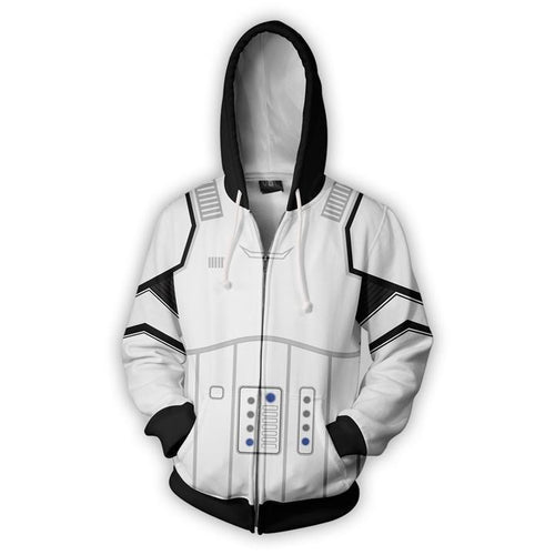 Star Wars: The Last Jedi Stormtrooper Sweatshirt Sweater Jacket Zipper Halloween Cosplay Costume