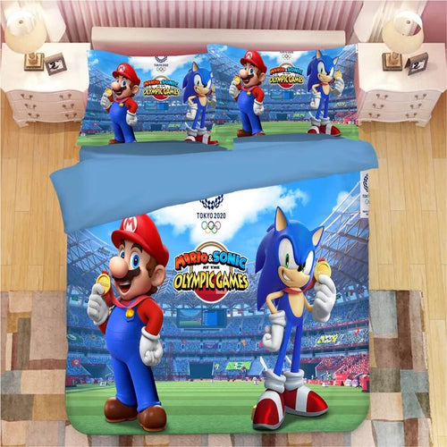 Mario Sonic Olympic Games Bedding Set Duvet Cover Set Bedroom Set Bed Linen
