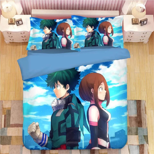 My Hero Academia Deku Midoriya Izuku OCHACO URARAKA #9 Bedding Set Duvet Cover Pillowcase Bedroom Set Bed Linen