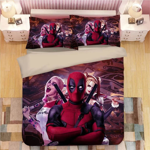 DC Comics Suicide Squad Harley Quinn Deadpool #6 Bedding Set Duvet Cover Pillowcase Bedroom Set Bed Linen