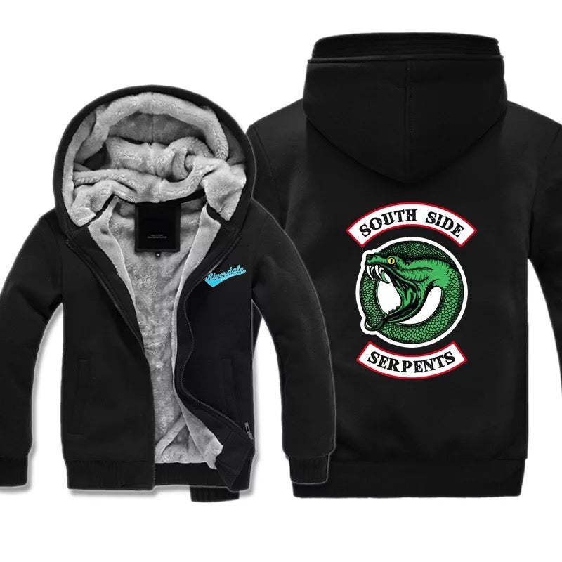 Riverdale South Side Serpents Winter Thick Warm Fleece Zipper Hooded Jacket Sweater Shirts
