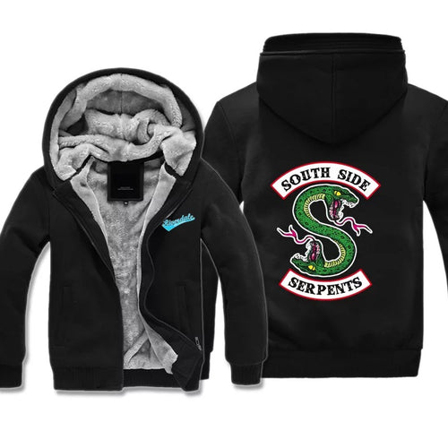 Riverdale South Side Serpents #1 Winter Thick Warm Fleece Zipper Hooded Jacket Sweater Shirts