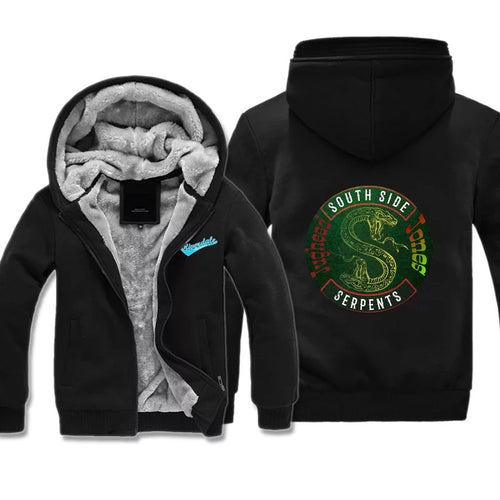 Riverdale South Side Serpents #2 Winter Thick Warm Fleece Zipper Hooded Jacket Sweater Shirts