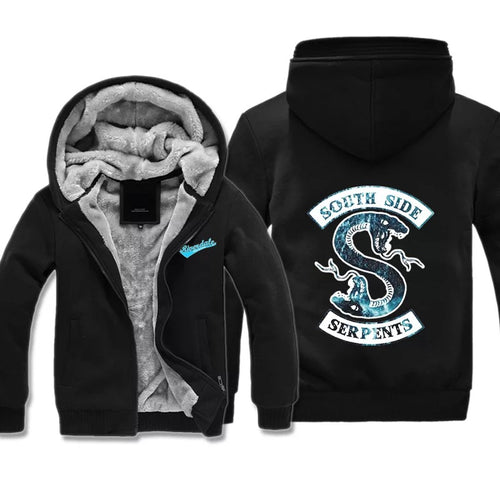 Riverdale South Side Serpents #3 Winter Thick Warm Fleece Zipper Hooded Jacket Sweater Shirts