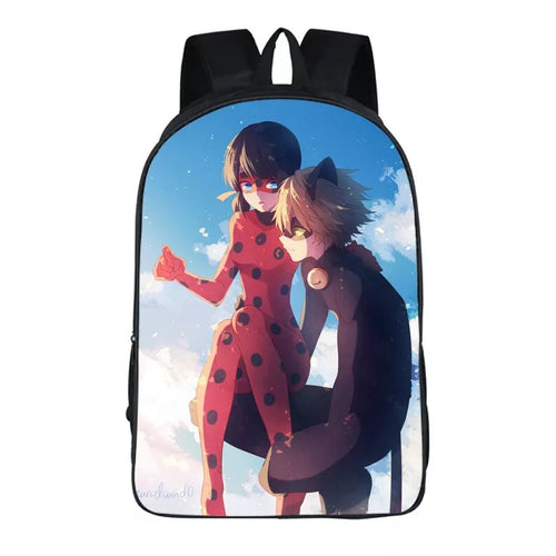 Anime Miraculous Ladybug Milady Cat Noir #4 Backpack School Sports Bag