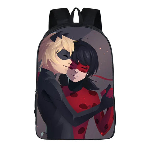 Anime Miraculous Ladybug Milady Cat Noir #16 Backpack School Sports Bag
