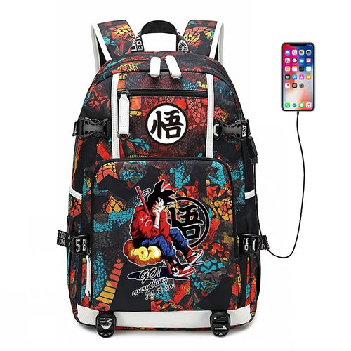 Dragon Ball Goku #3 USB Charging Backpack School NoteBook Laptop Travel Bags
