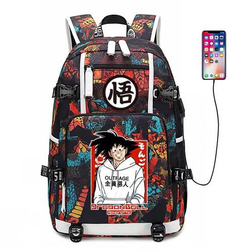 Dragon Ball Goku #5 USB Charging Backpack School NoteBook Laptop Travel Bags
