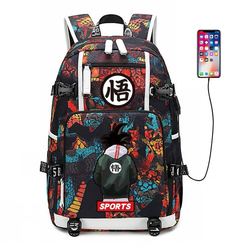 Dragon Ball Goku #6 USB Charging Backpack School NoteBook Laptop Travel Bags
