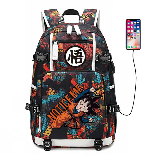 Dragon Ball Goku #7 USB Charging Backpack School NoteBook Laptop Travel Bags