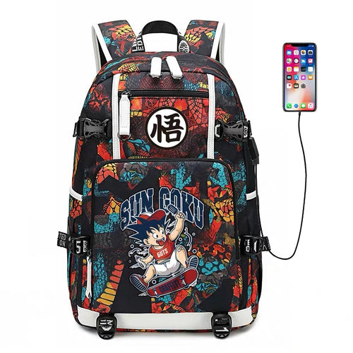 Dragon Ball Goku #8 USB Charging Backpack School NoteBook Laptop Travel Bags
