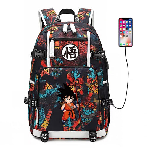 Dragon Ball Goku #9 USB Charging Backpack School NoteBook Laptop Travel Bags