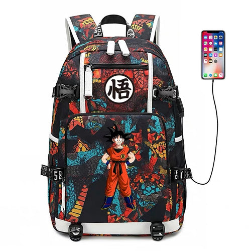 Dragon Ball Goku #10 USB Charging Backpack School NoteBook Laptop Travel Bags