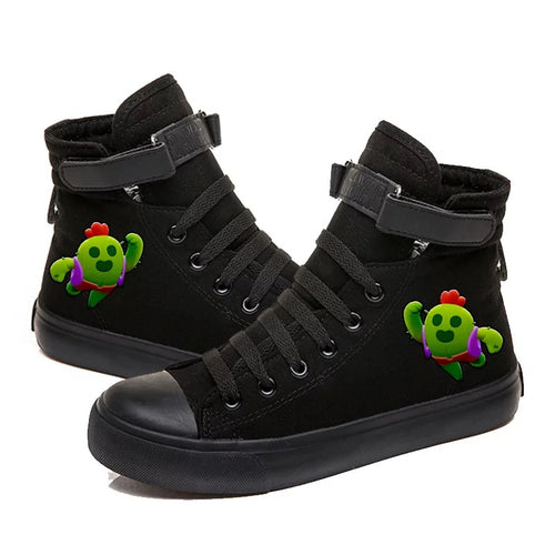 Game Brawl Stars Spike #5 Cosplay Shoes High Top Canvas Sneakers